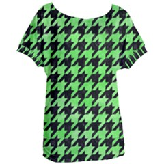Houndstooth1 Black Marble & Green Watercolor Women s Oversized Tee