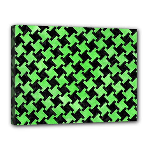 Houndstooth2 Black Marble & Green Watercolor Canvas 16  X 12  by trendistuff