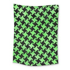 Houndstooth2 Black Marble & Green Watercolor Medium Tapestry by trendistuff