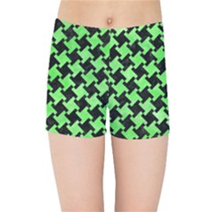 Houndstooth2 Black Marble & Green Watercolor Kids Sports Shorts by trendistuff