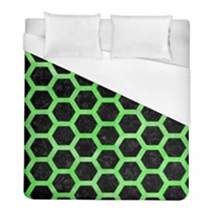 Hexagon2 Black Marble & Green Watercolor Duvet Cover (full/ Double Size) by trendistuff