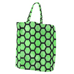 Hexagon2 Black Marble & Green Watercolor (r) Giant Grocery Zipper Tote