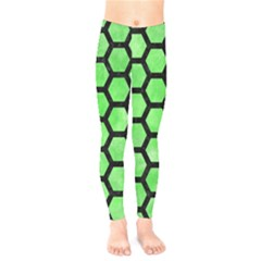 Hexagon2 Black Marble & Green Watercolor (r) Kids  Legging by trendistuff