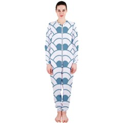 Art Deco,shell Pattern,teal,white Onepiece Jumpsuit (ladies)  by 8fugoso