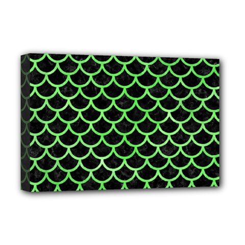 Scales1 Black Marble & Green Watercolor Deluxe Canvas 18  X 12   by trendistuff