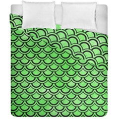 Scales2 Black Marble & Green Watercolor (r) Duvet Cover Double Side (california King Size) by trendistuff