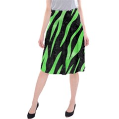 Skin3 Black Marble & Green Watercolor Midi Beach Skirt by trendistuff