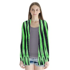 Skin4 Black Marble & Green Watercolor Drape Collar Cardigan