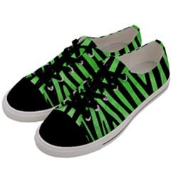 Skin4 Black Marble & Green Watercolor Men s Low Top Canvas Sneakers by trendistuff
