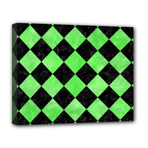 Square2 Black Marble & Green Watercolor Deluxe Canvas 20  X 16   by trendistuff