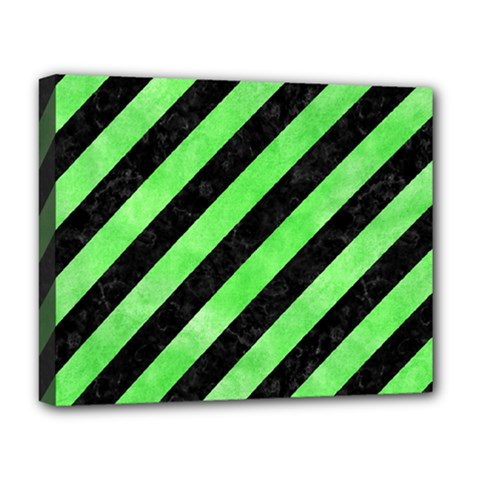 Stripes3 Black Marble & Green Watercolor Deluxe Canvas 20  X 16   by trendistuff