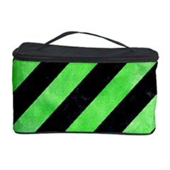 Stripes3 Black Marble & Green Watercolor Cosmetic Storage Case by trendistuff
