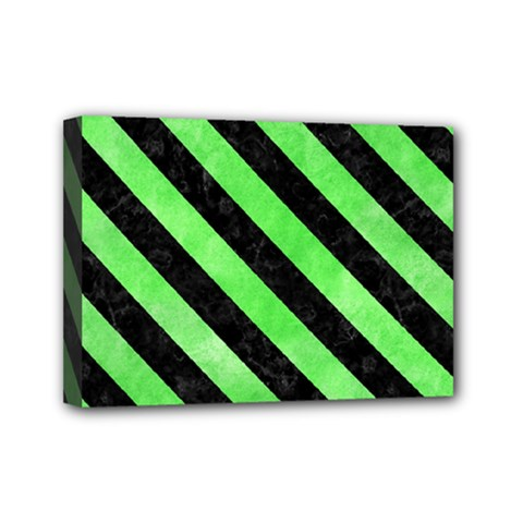Stripes3 Black Marble & Green Watercolor (r) Mini Canvas 7  X 5  by trendistuff