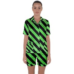 Stripes3 Black Marble & Green Watercolor (r) Satin Short Sleeve Pyjamas Set