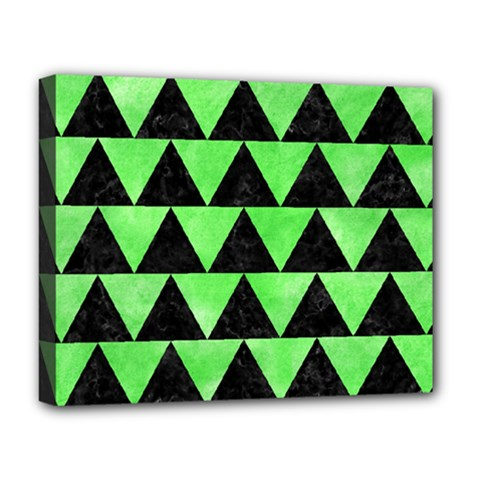 Triangle2 Black Marble & Green Watercolor Deluxe Canvas 20  X 16   by trendistuff