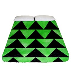 Triangle2 Black Marble & Green Watercolor Fitted Sheet (queen Size) by trendistuff