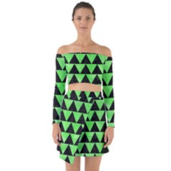 Triangle2 Black Marble & Green Watercolor Off Shoulder Top With Skirt Set