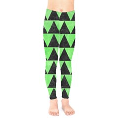 Triangle2 Black Marble & Green Watercolor Kids  Legging by trendistuff