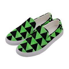 Triangle2 Black Marble & Green Watercolor Women s Canvas Slip Ons by trendistuff