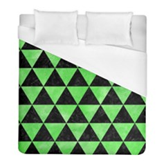 Triangle3 Black Marble & Green Watercolor Duvet Cover (full/ Double Size) by trendistuff
