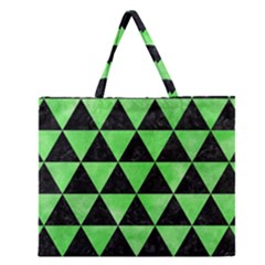 Triangle3 Black Marble & Green Watercolor Zipper Large Tote Bag by trendistuff
