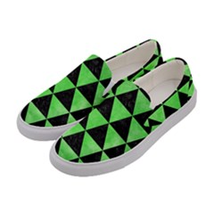 Triangle3 Black Marble & Green Watercolor Women s Canvas Slip Ons by trendistuff