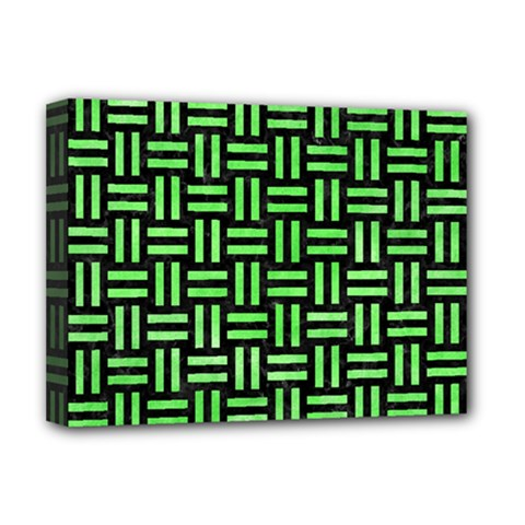 Woven1 Black Marble & Green Watercolor Deluxe Canvas 16  X 12   by trendistuff