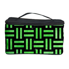 Woven1 Black Marble & Green Watercolor Cosmetic Storage Case by trendistuff