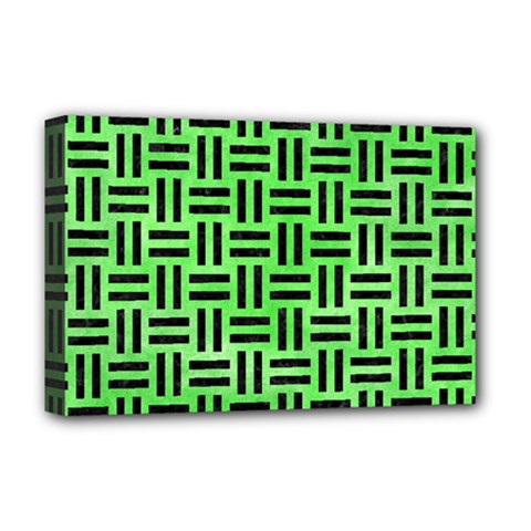 Woven1 Black Marble & Green Watercolor (r) Deluxe Canvas 18  X 12   by trendistuff