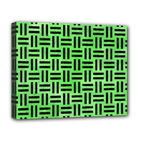 Woven1 Black Marble & Green Watercolor (r) Deluxe Canvas 20  X 16   by trendistuff