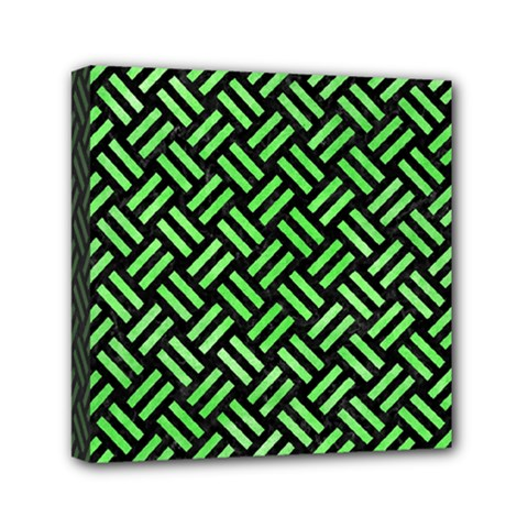 Woven2 Black Marble & Green Watercolor Mini Canvas 6  X 6  by trendistuff