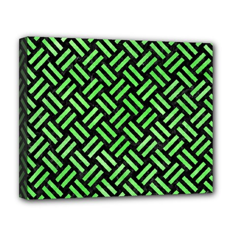 Woven2 Black Marble & Green Watercolor Deluxe Canvas 20  X 16   by trendistuff