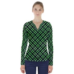 Woven2 Black Marble & Green Watercolor V Neck Long Sleeve Top