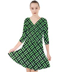 Woven2 Black Marble & Green Watercolor Quarter Sleeve Front Wrap Dress