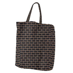 Brick1 Black Marble & Light Maple Wood Giant Grocery Zipper Tote