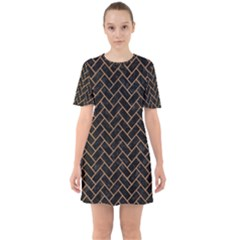 Brick2 Black Marble & Light Maple Wood Sixties Short Sleeve Mini Dress