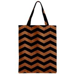Chevron3 Black Marble & Light Maple Wood Zipper Classic Tote Bag by trendistuff