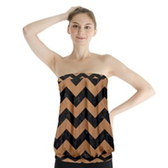 Chevron3 Black Marble & Light Maple Wood Strapless Top