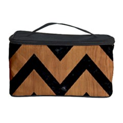 Chevron9 Black Marble & Light Maple Wood (r) Cosmetic Storage Case