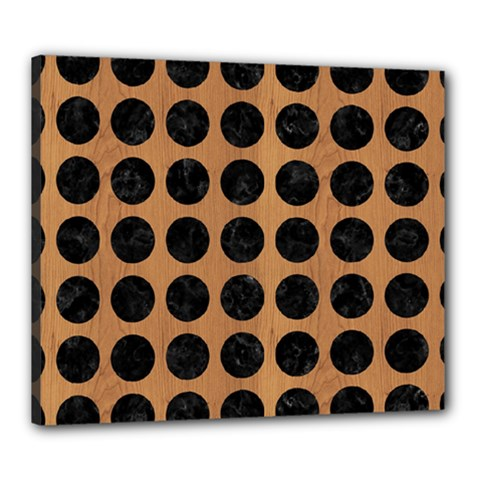 Circles1 Black Marble & Light Maple Wood (r) Canvas 24  X 20  by trendistuff