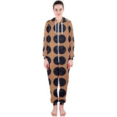 Circles1 Black Marble & Light Maple Wood (r) Hooded Jumpsuit (ladies)