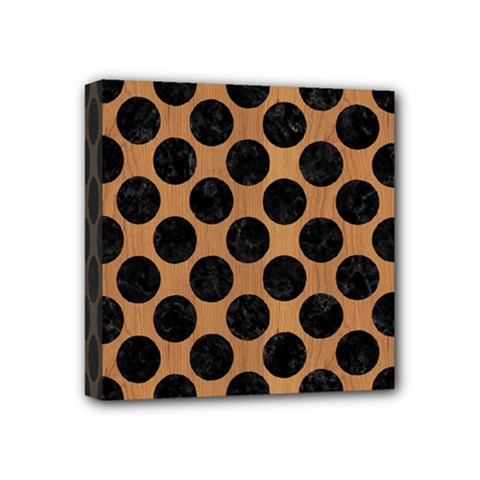 Circles2 Black Marble & Light Maple Wood (r) Mini Canvas 4  X 4  by trendistuff