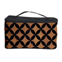 Circles3 Black Marble & Light Maple Wood (r) Cosmetic Storage Case