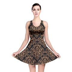 Damask1 Black Marble & Light Maple Wood Reversible Skater Dress