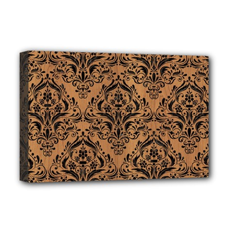 Damask1 Black Marble & Light Maple Wood (r) Deluxe Canvas 18  X 12