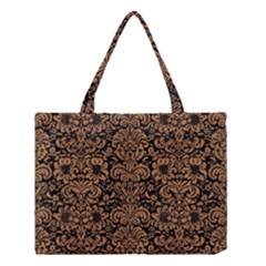 Damask2 Black Marble & Light Maple Wood Medium Tote Bag by trendistuff