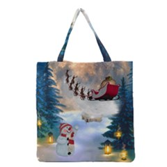 Christmas, Snowman With Santa Claus And Reindeer Grocery Tote Bag by FantasyWorld7