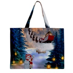 Christmas, Snowman With Santa Claus And Reindeer Mini Tote Bag by FantasyWorld7