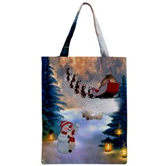 Christmas, Snowman With Santa Claus And Reindeer Classic Tote Bag by FantasyWorld7