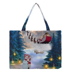Christmas, Snowman With Santa Claus And Reindeer Medium Tote Bag by FantasyWorld7